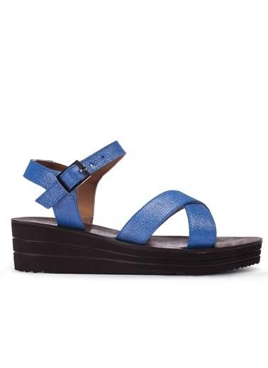 Deery Hakiki Deri Sandalet Mavi